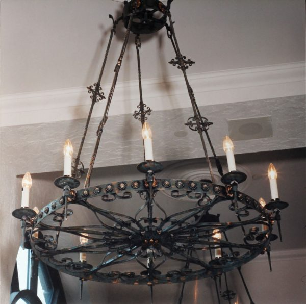 A close up of photograph of the reproduction chandeliers.